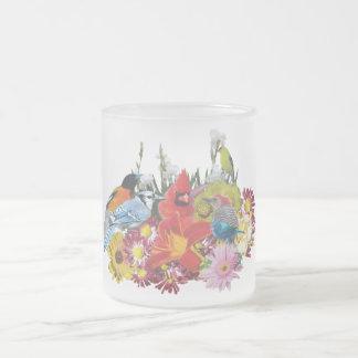 bird / flower medley 4 frosted glass mug