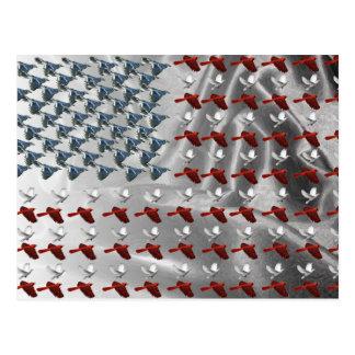 Bird Flying American Flag Postcard