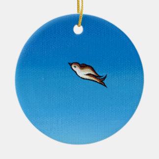 Bird flying colorful painting original art Easy Christmas Ornament