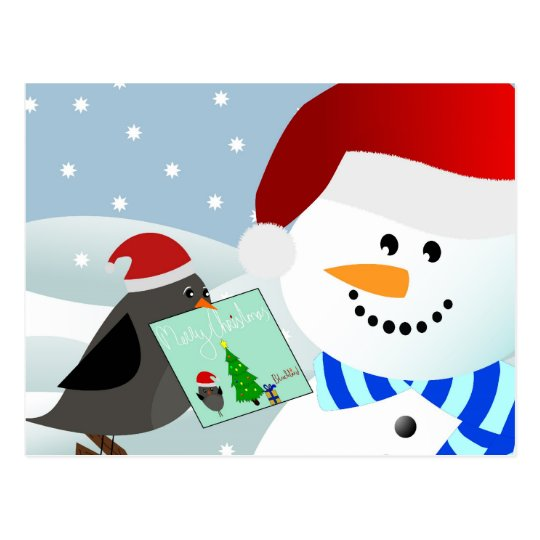 Bird giving christmas card to snowman
