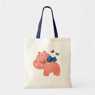 BIRD, HIPPO & BUTTERFLIES TOTE BAG