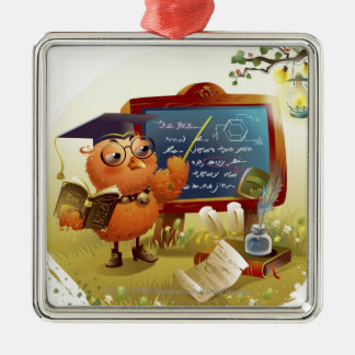 Bird holding a book and teaching at a blackboard christmas ornament