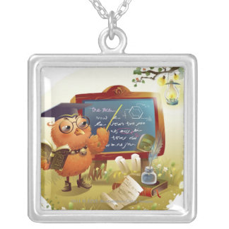 Bird holding a book and teaching at a blackboard silver plated necklace