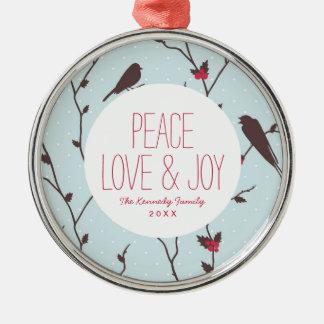Bird Holiday Pattern Christmas Ornament