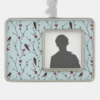 Bird Holiday Pattern Silver Plated Framed Ornament