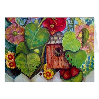 Bird House Cottage Garden Card