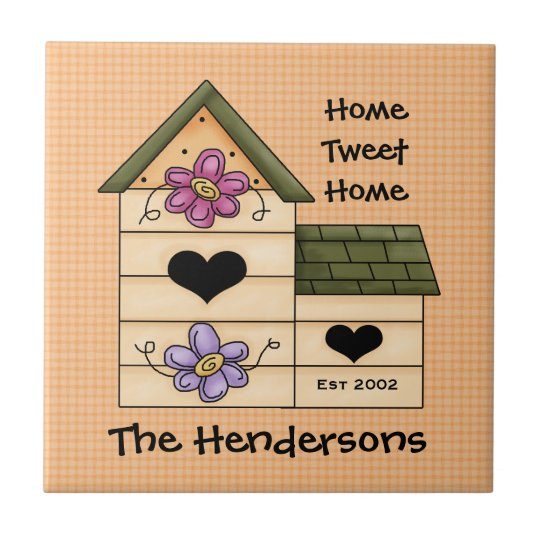 Bird House Family Name Small Square Tile