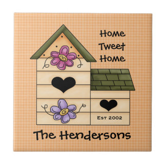 Bird House Family Name Tile