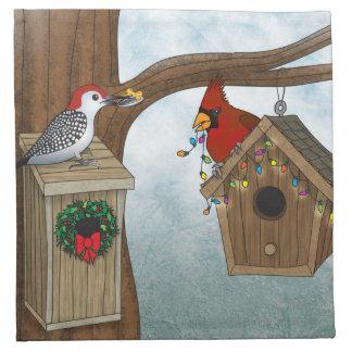 Bird House Holiday Printed Napkin