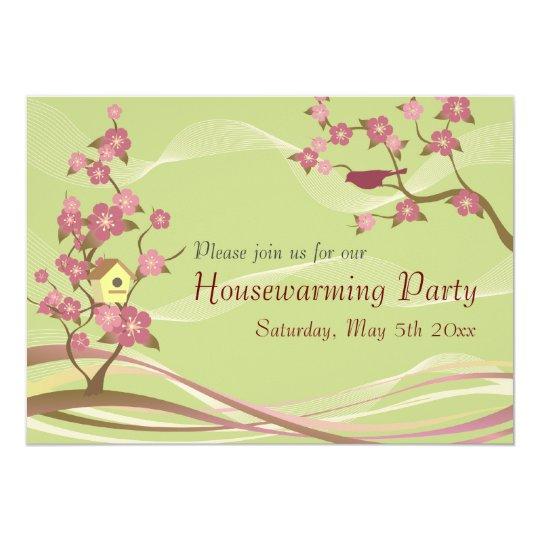 Bird House Housewarming Party Inviation Green Card