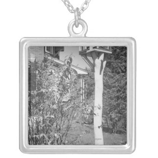 Bird house in garden silver plated necklace