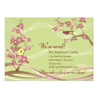 Bird House Moving Announcement Flat Card Green