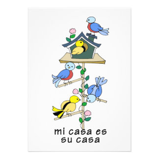 Bird Houses My House is Your House - Spanish Personalized Invite