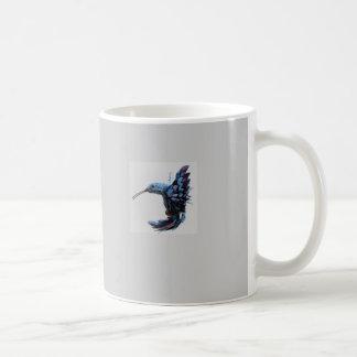 Bird hovering close coffee mugs