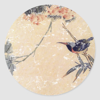 Bird in Bamboo Classic Round Sticker