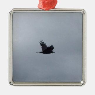 Bird in Flight Silver-Colored Square Decoration