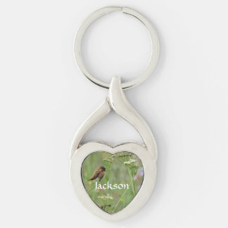 Bird in flowers Silver-Colored twisted heart key ring