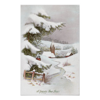 Bird in Snowy Winter Scene for the New Year Poster