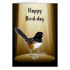 Bird in Spotlight, Happy Bird Day, Pun, Birthday Card