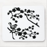 Bird in tree black mousepad