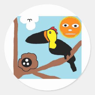 bird in tree round sticker