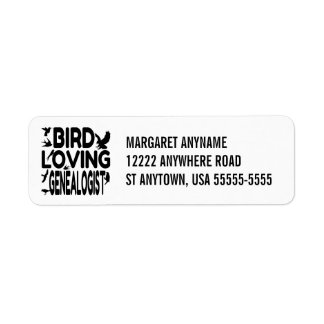Bird Loving Genealogist Return Address Label