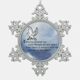 Bird Memorial Poem Snowflake Pewter Christmas Ornament