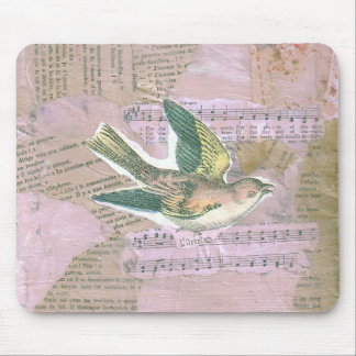 Bird Mixed Media Collage Mouse Pad