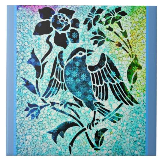 Bird Mosaic Large Square Tile