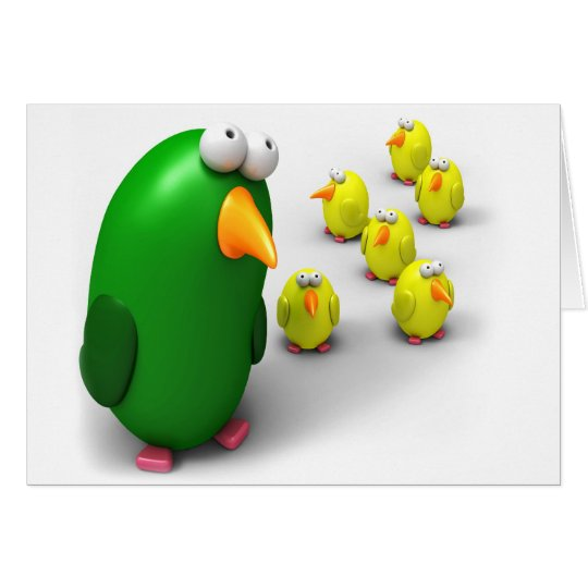 Bird mum and Chicks Card