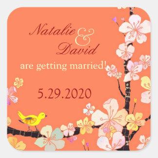Bird n Sakura Flowers Wedding Save the Date Square Sticker