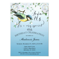 85th birthday invitations announcements zazzle bird nature birthday party invitation blue floral filmwisefo Choice Image