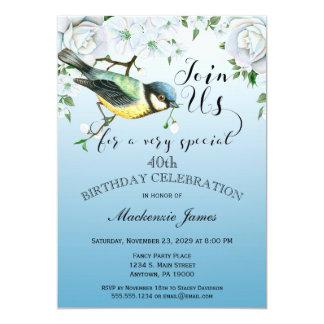 Bird Nature Birthday Party Invitation Blue Floral
