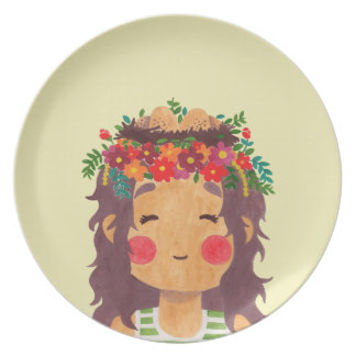 Bird Nest Girl in the Spring Season Plate