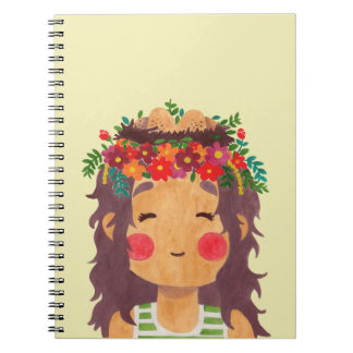 Bird Nest Girl in the Spring Season Spiral Notebook