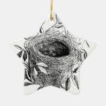 bird nest vintage illustration ceramic star decoration