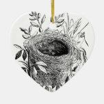 bird nest vintage illustration ceramic heart decoration