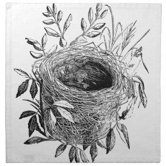 bird nest vintage illustration napkin