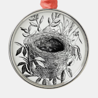bird nest vintage illustration Silver-Colored round decoration