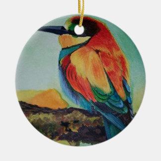 Bird of colors round ceramic decoration