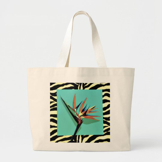 Bird of Paradise Aqua/Zebra Jumbo Tote
