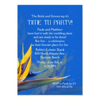 Bird of Paradise Blue Fun Saying Rehearsal Dinner 11 Cm X 16 Cm Invitation Card