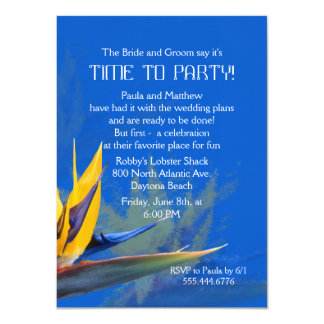 "Bird of Paradise Blue Fun Saying Rehearsal Dinner 4.5"" X 6.25"" Invitation Card"