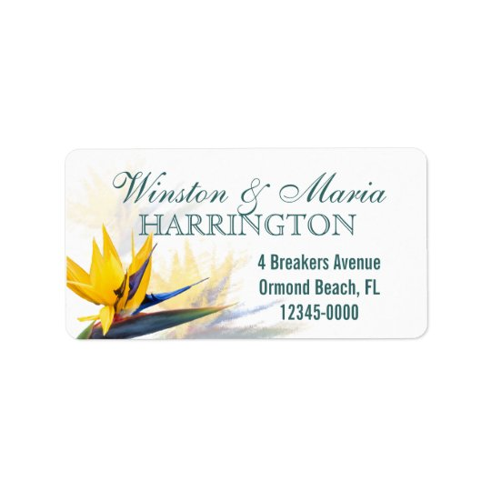 Bird of Paradise Custom Tropical Address Label