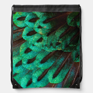 Bird of Paradise feather close-up Drawstring Bag