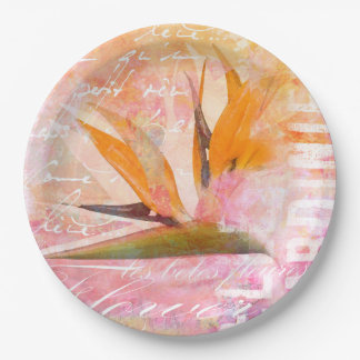 Bird of Paradise Flower 9 Inch Paper Plate