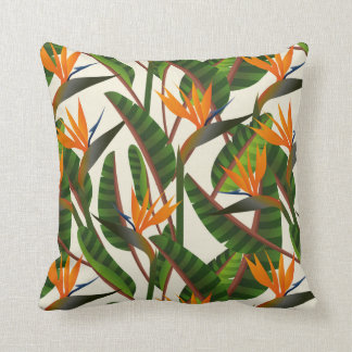 Bird Of Paradise Flower Pattern Cushion