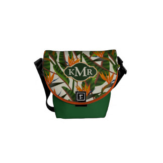 Bird Of Paradise Flower Pattern | Monogram Commuter Bag