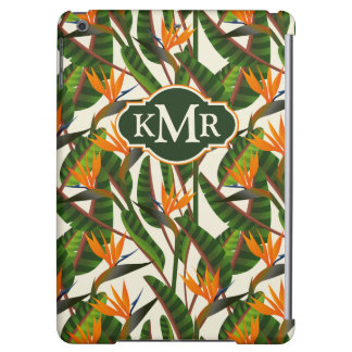 Bird Of Paradise Flower Pattern   Monogram Cover For iPad Air