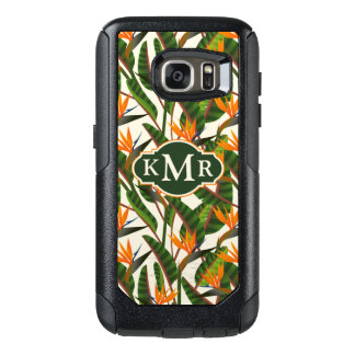 Bird Of Paradise Flower Pattern | Monogram OtterBox Samsung Galaxy S7 Case